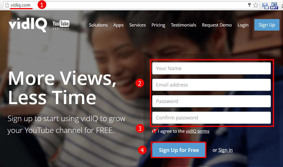 Регистрация в сервисе vidIQ