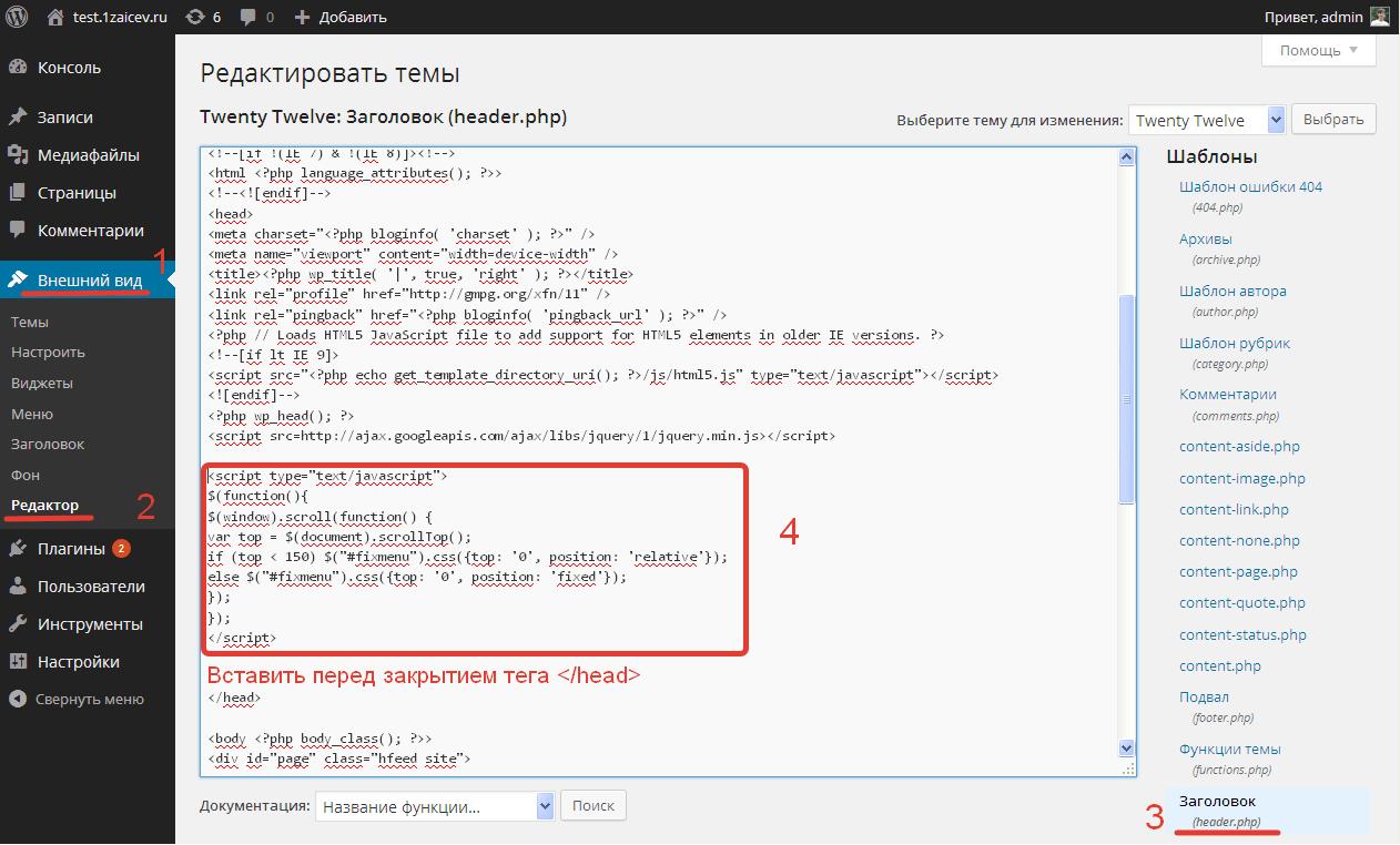 Вставка скрипта в исходный код