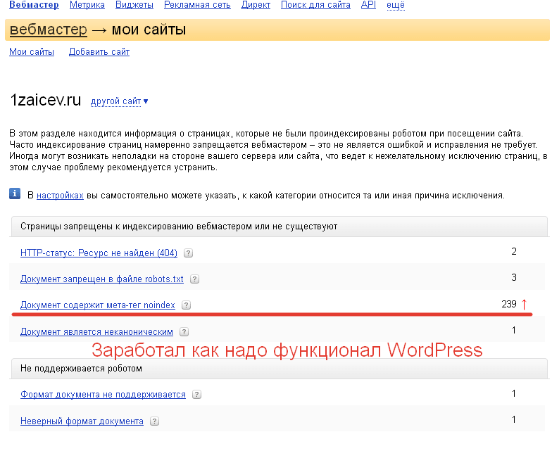 Результат снятия запретов в robots.txt