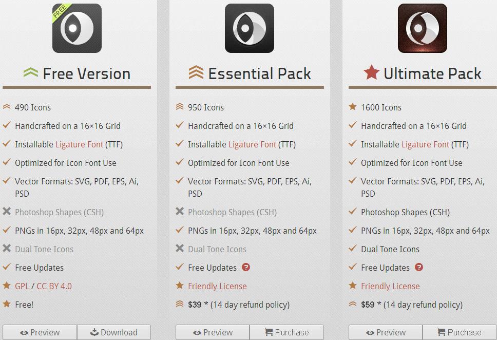 Пакеты доступных иконок