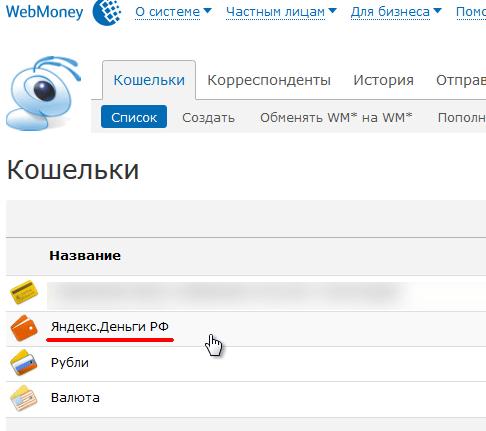 Кошелёк Яндекса в Webmoney