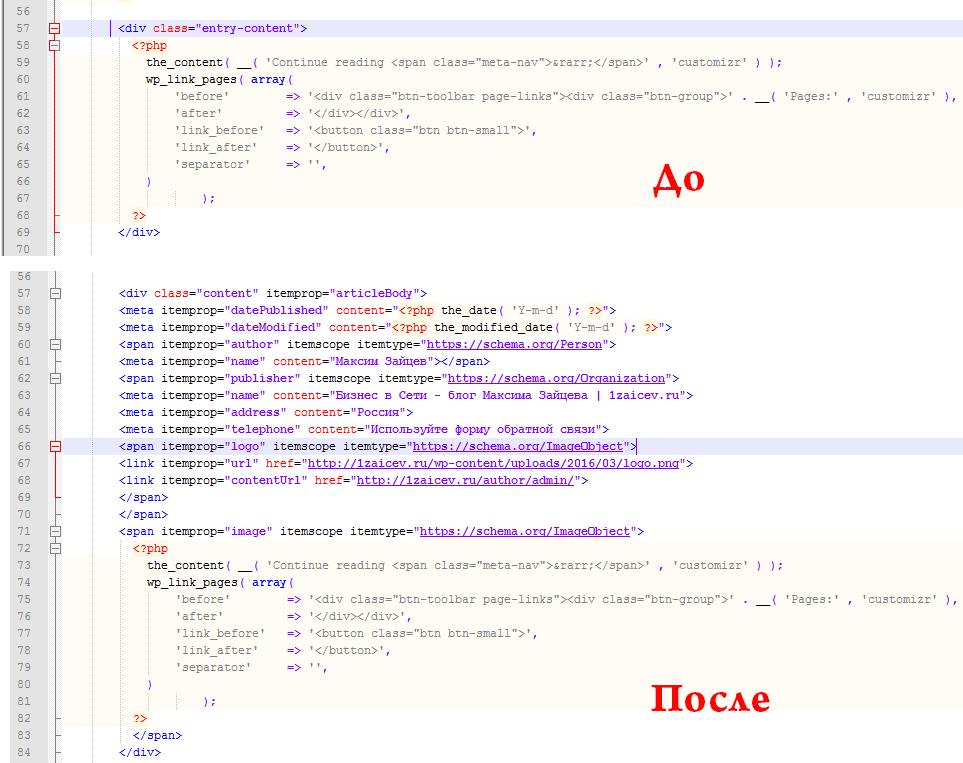 Микроразметка страниц