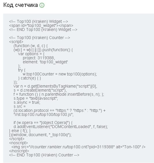 Счётчик Рамблер ТОП-100, код