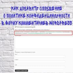 сообщение о политике конфиденциальности в форму комментариев WordPress