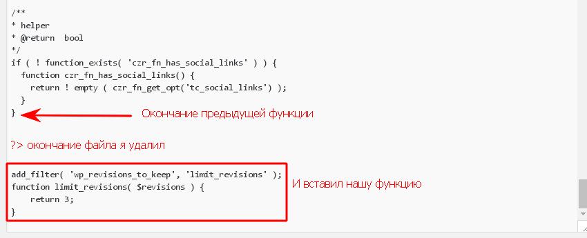 Ревизии WordPress, вставка кода в functions.php